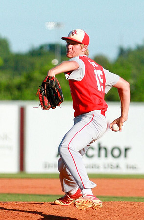 Special photo by Samuel Perry<br /> Stigler's Cameron Highfill delivers a pitch against Salina in the Class 3A quarterfinals. Highfill and the Panthers won 2-1.