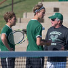 Phoenix special photo by Von Castor<br /> Muskogee doubles team Jared Grooms, left, and Konner Rowan talk with coach Rusty Bradley between sets Friday during the Class 6A boys state tournament at The Oklahoma City Tennis Center. Grooms and Rowan won their first match but lost their second match and play in the consolation round today.