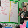 Staff photo by Cathy Spaulding<br /> Pam Shoemaker combines a lesson in graphing and counting while reviewing spelling words with Cherokee Elementary students. Shoemaker is a substitute teacher at the school.