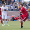 Phoenix special photo by Von Castor<br /> Fort Gibson's Grayson Ramey strikes a penalty kick at the 4:19 mark of overtime for the only goal of the match as the Tigers won the Class 4A 4A boys state championship Saturday with a 1-0 win over Santa Fe South at University of Tulsa.