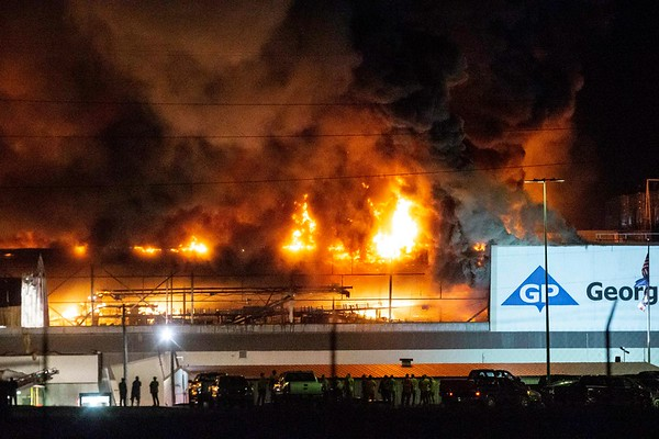 VON CASTOR/Special to the Phoenix<br /> A late Monday night fire causes Georgia-Pacific employees to evacuate the mill. Fire Chief Michael O'Dell said a propane-operated forklift had caught fire, starting the blaze.