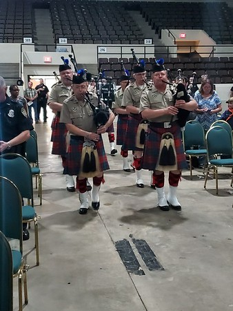 CHESLEY OXENDINE/Muskogee Phoenix<br /> Tulsa Pipes and Drums provided the music for Thursday night's ceremony in honor of fallen law enforcement officers.