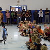 Special photo by Mike Elswick<br /> Jon Tucker gave nearly 100 pre-k and kindergarten students at Haskell's Mary White Elementary School bicycle safety tips before each student was presented their bike to take home courtesy of the newly formed nonprofit group Funds for Haskell Kids.