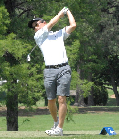 NATHAN DEAL/Muskogee Phoenix<br /> Oregon native Craig Kanada hits a tee shot during first-round play in the Muscogee Creek Nation Casinos Real Okie Championship on Thursday at Muskogee Golf & Country Club. Kanada shot a 3-under 67.