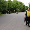 Staff photo by Harrison Grimwood<br /> Stephen Ezell, right, walks his second loop to complete his 2-kilometer walk during the VA2K Walk and Roll on Wednesday at the Jack C. Montgomery VA Medical Center.
