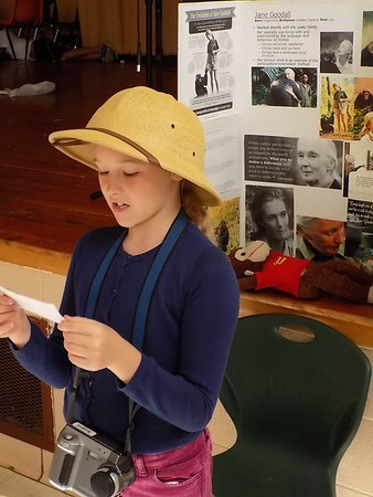 MIKE ELSWICK/Muskogee Phoenix Fourth-grade student Jillian Bauers acts out the role of naturalist Jane Goodall during Friday's living history museum presentation at Grant Foreman Elementary School.