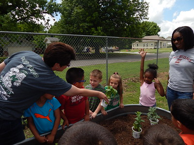 KENOTN BROOKS/Muskogee Phoenix Pre-kindergarten teacher Brandi O'Dell has her class smell plants as part of the Water Exploration Invitation to Play at the Muskogee Early Childhood Center on Monday. Children learned about water, plants and dirt as part of their lessons during the class.
