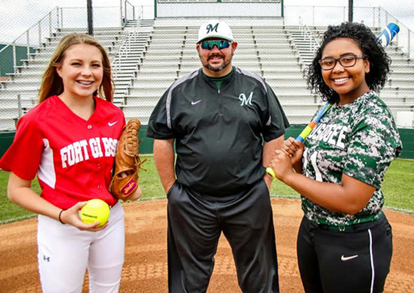 Special photo by John Hasler<br /> Phoenix Newcomer of the Year Maddi Jo Williams, left, Coach of the Year Keith Coleman, center, and Muskogee's Dee Emarthle, the Most Valuable Player, top this year's All-Phoenix slowpitch softball team.