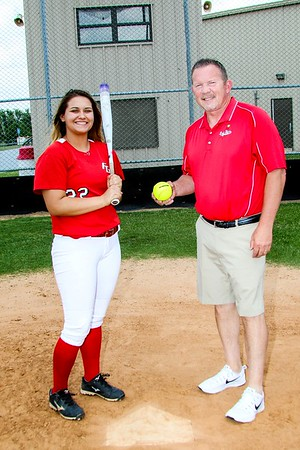 Phoenix special photo by John Hasler<br /> Fort Gibson's Aubree Bell, left, is the Most Valuable Player of this year's All-Phoenix area slowpitch team. Her coach, Jerry Walker, is the top mentor.
