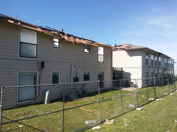 Staff photo by Wendy Burton<br /> The National Weather Service in Tulsa has determined the damage to Whispering Pines Apartments was caused by an EF2 tornado Thursday night.