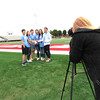 Staff photo by Cathy Spaulding<br /> Students pose for Carlee Fugate with a soccer ball.