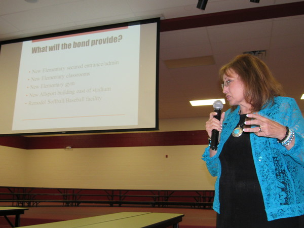 Staff photo by Cathy Spaulding Hilldale School Superintendent Dr. Kaylin Coody lists primary components of a proposed $13.8 million bond package that will be presented to district voters in an Aug. 23 election.