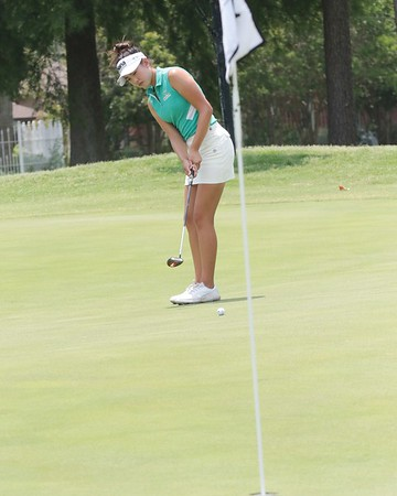 Yealimi Noh of Concord, Calif., follows her birdie put on the fifth hole during Thursday's third round of the WAPT Bravado Wireless Real Okie Championship at Muskogee Golf Club. Noh carded a 3-under 68 and holds a four-stroke lead heading into today's final round.