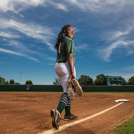 Phoenix photo illustration by Mandy Lundy<br /> Muskogee senior Elexis Watson, the Phoenix Prep Female Athlete of the Year, made All-Phoenix every year of her high school career in both slowpitch and fastpitch, but her 64 walks, 61 intentional, in the 2017 slowpitch season turned cleats into well-worn walking shoes.