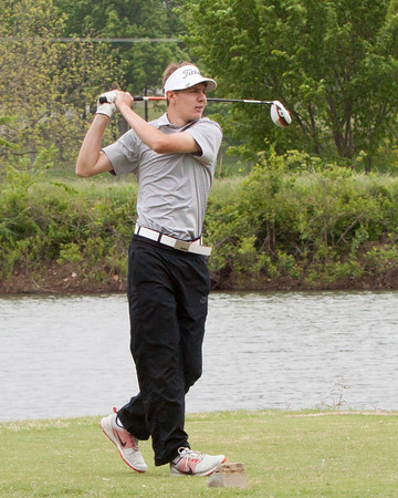 Special photo by Von Castor<br /> Hilldale's Grant Sikes tees off on the second hole of the morning round of Monday's Class 4A boys regional golf tournament at Cherokee Springs. Sikes finished fourth individually as the Hornets came in second to advance to next week's state tournament.