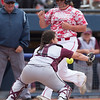 Phoenix special photo by Von Castor<br /> Sequoyah catcher Tanasia Cochran bobbles the throw to home plate as a Prague baserunner scores.