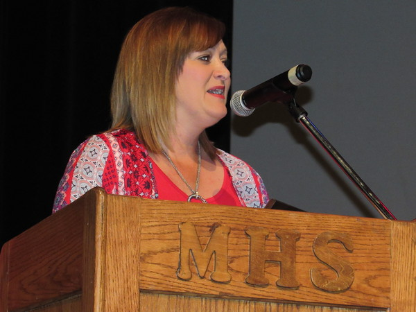 Staff photo by Cathy Spaulding<br /> Muskogee Public Schools' Teacher of the Year, Sarah McWilliams, shares her appreciation of the honor.