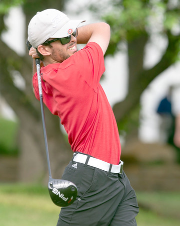VON CASTOR/Special to the Phoenix<br /> Hilldale's Lance Lienhart tees off in the first round on the first hole at Dornick Hills Golf and Country Club in the boys Class 4A state golf tournament in Ardmore.