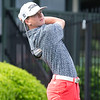 VON CASTOR/Phoenix Special Photo<br /> Hilldale's Colby Cox watches a tee shot during third-round play in the Class 4A boys state golf tournament.
