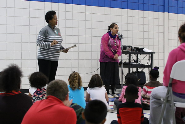 Staff photo by Harrison Grimwood<br /> Allison Jones, Northeastern Oklahoma A&M College's Miss Indian 2015-2016, spoke on her role as princess and her tribal heritage, Osage and Pottawatomie, to Cherokee Elementary School students during an assembly for Native American Heritage Month.