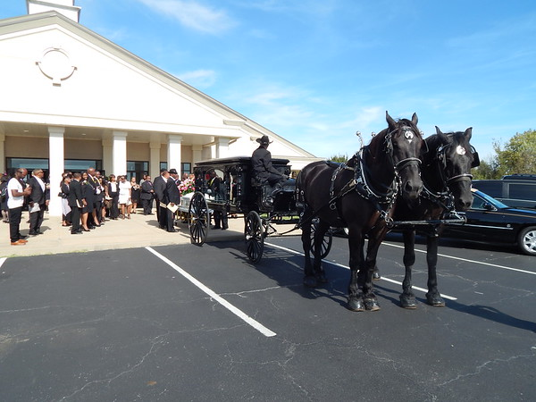 "Staff photo by Cathy Spaulding<br /> Pallbearers prepare to load Cassandra Gaines' casket onto a horse-drawn hearse Monday after Gaines' memorial service. Hundreds packed Timothy Baptist Church for the community promoter's ""home-going."""