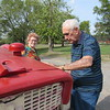 Staff photo by Cathy Spaulding<br /> Marie and I.B. Branscum enjoy time outside, where he likes to restore old tractors and she gardened. The two have been married 70 years.
