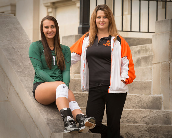 Special photo by Von Castor<br /> Muskogee's Claire Farmer, left, earned her third straight Phoenix volleyball Most Valuable Player honor while Okay coach Belinda Clark was named Coach of the Year for the third time in six seasons.