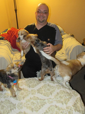 Staff photo by Cathy Spaulding<br /> John Cates plays with some of the five dogs he has adopted. He is active in the Fur Babies dog adoption group.