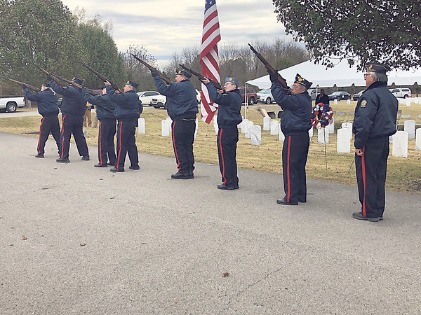 CHESLEY OXENDINE/Muskogee Phoenix<br /> The American Legion Post 15 Honor Guard fired three volleys at Sunday's Fort Gibson National Cemetery Veterans Day ceremony.
