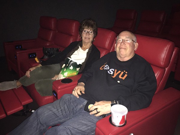 Staff photo by Mike Elswick<br /> Carol and Mike Martin get comfortable as they try out the recliner seats at Epic Cinema Muskogee on Tuesday. The couple said they average going to as many as 70 movies a year and often would travel to Tulsa or Broken Arrow to enjoy the quality of moving going experience they  desire.