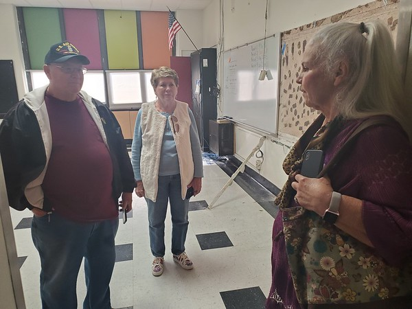 CHESLEY OXENDINE/Muskogee Phoenix<br /> Ronnie and Peggy Dollar talk nostalgia with Sharon Peters in one of the classrooms in Alice Robertson Junior High. The older buildings at the school are scheduled for demolition in Summer 2020.