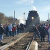 CHESLEY OXENDINE/Muskogee Phoenix<br /> A hundreds-strong crowd gathers to take photos as the Big Boy steam locomotive rolls into Wagoner on Saturday afternoon.