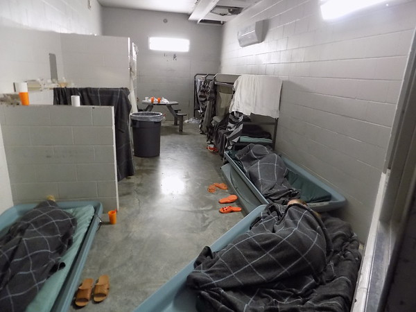 Staff photo by Mike Elswick<br /> One of the women's dorm areas at the Wagoner County Detention Center shows the overcrowded conditions with temporary bedding units on the floor.