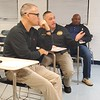 CHESLEY OXENDINE/Muskogee Phoenix<br /> Muskogee County Sheriff Rob Frazier was joined by Chief Deputy Michael Mahan and Capt. George Roberson at a meeting at Oktaha Schools on Thursday night to discuss updating security policy.