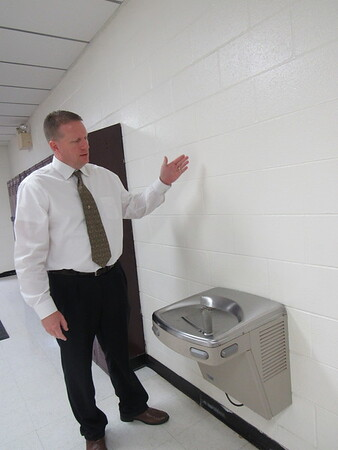 """CATHY SPAULDING/Muskogee Phoenix<br /> Warner Schools Superintendent David Vinson says """"hydration stations"""" will enable students to fill water bottles at drinking fountains."""