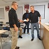 Muskogee County Sheriff Rob Frazier, joined by Capt. George Roberson, meets with Oktaha Schools Safety and Security Coordinator Tommy Pinkley on Thursday to discuss updating the schools' security policies.