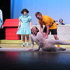 "CATHY SPAULDING/Muskogee Phoenix<br /> Charlie Brown (Chase Sinclair, right) plays with his beagle, Snoopy (Mallory Lindsay), while Linus (Seth Arnold, left) and Lucy (Meaghan McCawley) watch, during the Muskogee Little Theatre production ""You're a Good Man, Charlie Brown."""