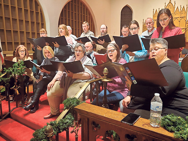 """CHESLEY OXENDINE/Muskogee Phoenix<br /> Members of the a capella singing group Okiepella practice for their upcoming """"A Thankful Christmas"""" concerts."""