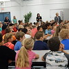 KENTON BROOKS/Muskogee Phoenix<br /> Oktaha Elementary School students listen attentively to Doug Walton of the Muskogee County Health Department's TSET Healthy Living Program. Walton talked about bike safety and walking safely to and from school.