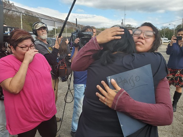CHESLEY OXENDINE/Muskogee Phoenix<br /> Sheila Buckley and Sara Taylor greet their niece Tess Harjo after Harjo was freed from Eddie Warrior Correctional Facility on a commuted sentence Monday.