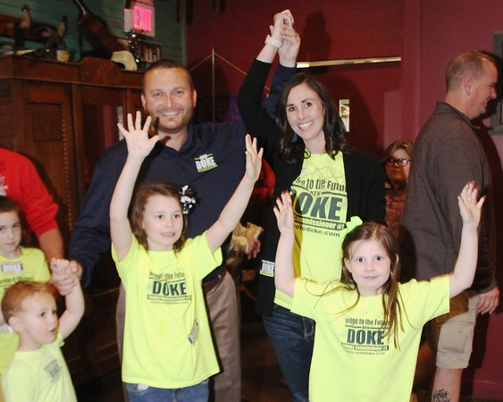 JOHN HASLER/Special to the Phoenix<br /> Ken Doke and his family celebrate after Doke's victory for District 1 Muskogee County Commissioner. Ken and Jodi Doke stand behind their children Kolby, Kensli and Jenlee Doke.