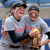 Phoenix special photo by Von Castor<br /> Fort Gibson's Maddi Jo Williams, left, is congratulated by teammate Hannah Thouvenel after catching a pop fly for the final out in the seventh inning against Purcell in the quarterfinal game Thursday afternoon at ASA Hall of Fame Stadium in Oklahoma City. Fort Gibson won 2-1.