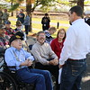 Staff photo by Harrison Grimwood<br /> U.S. Rep. Markwayne Mullin (R-Okla) speaks with Earl Ginn, a World War II veteran on the left, during a ceremony at the Muskogee War Memorial Park.