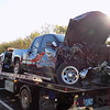 Staff photo by Mike Elswick<br /> The front end of a late model Chevrolet Silverado pickup involved in a Monday morning fatality wreck on Oklahoma 16 west of Muskogee is seen after it was loaded onto a wrecker.