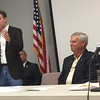 Staff photo by D.E. Smoot<br /> Republican Avery Frix, left, stumps for the open House District 13 post Thursday while his Democratic opponent Wayne Herriman prepares to respond during a Muskogee Patriot Townhall meeting.