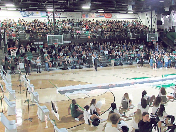 CATHY SPAULDING/Muskogee Phoenix <br /> Muskogee High students fill the Ron Milam Gymnasium visitor stands during a recent pep rally. School officials hope to build a larger gym.