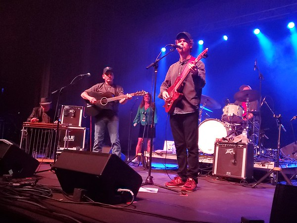 """CHESLEY OXENDINE/Muskogee Phoenix Noel Haggard, Theresa Haggard, Ben Haggard and The Strangers perform for a roaring crowd at the 50th Anniversary Concert for Merle Haggard's """"Okie From Muskogee."""""""