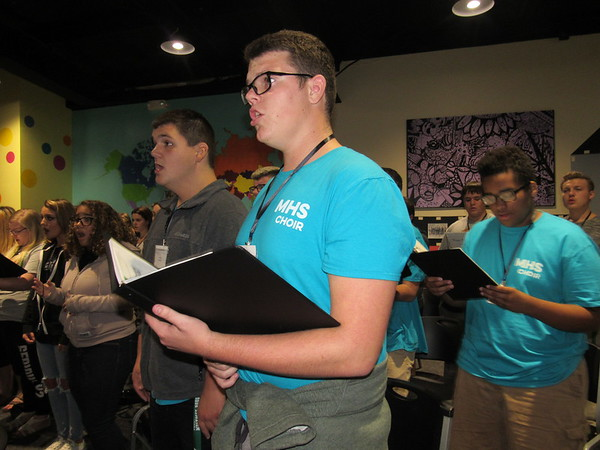 Staff photo by Cathy Spaulding<br /> Muskogee High tenors, from right, Phillip Bruch, Brady Gallaway and Michael Yadon practice Tuesday afternoon with the Eastern District Honor Choir.