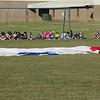 Staff photo by Cathy Spaulding<br /> Creek Elementary students wait for a hot air balloon to inflate Wednesday morning.