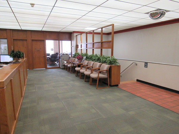 CATHY SPAULDING/Muskogee Phoenix<br /> A view of the BEST Center second floor features stairs and an escalator leading down and offices along the south side. Renovation includes removing the stairs and escalator and moving the offices.